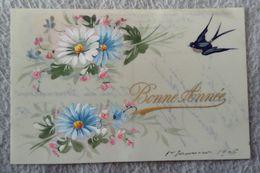 Carte Celluloïd - Bonne ANNÉE- Peintes à La Main Hirondelle Marguerite - Nouvel An