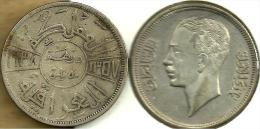 IRAQ 50 FILS ARABIC WRITING FRONT KING HEAD BACK 1357-1938 AG SILVER KM104 VF READ DESCRIPTION CAREFULLY !!! - Iraq