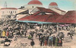 1914-18 -Serbie - MONASTIR ,  Place Centrale Marché Au Bois - Serbie