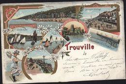CPA Carte Postale Précurseur Trouville Style Gruss Circulée 1900 Jetées Entrée Du Port Promenade Plage église - Trouville