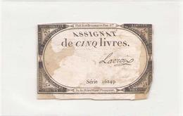 Assignat De Cinq Livres ( Le 10 Brumaire L'an 2 ème ) Série 16249 - Assignats