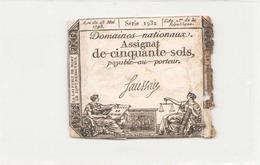 Assignat De Cinquante Sols ( L'an 2 ème De La République ) Série 1932 - Assignats