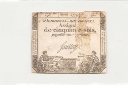 Assignat De Cinquante Sols ( L'an 2 ème De La République ) Série 2774 - Assignats & Mandats Territoriaux