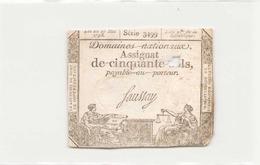 Assignat De Cinquante Sols ( L'an 2 ème De La République ) Série 3499 - Assignats
