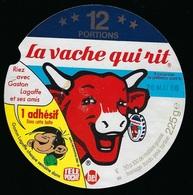 """Etiquette Fromage La Vache Qui Rit   """"  Riez Avec Gaston Lagaffe  Date 26 Mai 86  12 Portions"""" - Fromage"""