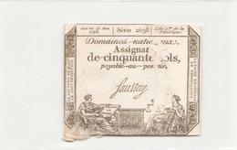 Assignat De Cinquante Sols ( L'an 2 ème De La République ) Série 2638 - Assignats