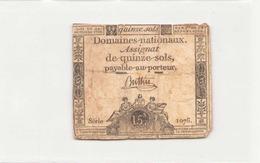 Assignat De Quinze Sols ( L'an 1er De La République ) Série 1076 - Assignats