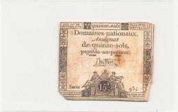 Assignat De Quinze Sols ( L'an 1er De La République ) Série 934 - Assignats & Mandats Territoriaux