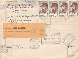 BULLETIN D'EXPEDITION L'ESPAGNE TO SWISS 1977 CERTIFICADA PAR AVION-TBE-BLEUP - 1981-90 Cartas