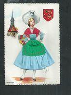Carte Fantaisie Brodée Costume Régionaux.La Normandie - Brodées