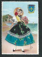 Carte Fantaisie Brodée Costume Régionaux.La Provence - Brodées