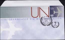 UNO New York Luftpostfaltbrief LF 25 Flugzeug 98 + 7 Cent 2012, FDC 23.1.2012 - New York - Hoofdkwartier Van De VN