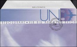 UNO New York Luftpostfaltbrief LF 21 Flugzeug 90 Cent 2007, FDC 9.8.2007 - New York - Hoofdkwartier Van De VN