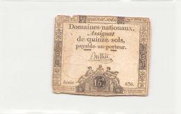 Assignat De Quinze Sols ( L'an 1er De La République ) Série 636 - Assignats