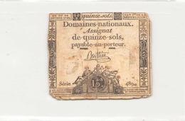 Assignat De Quinze Sols ( L'an 1er De La République ) Série 489 ( Déchirure ) - Assignats
