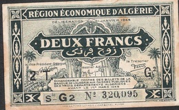ALGERIA P99b 2 FRANCS 1944 VF NO P.h. ! - Algerije