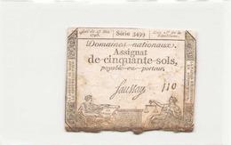 Assignat De Cinquante Sols ( L'an 2 ème De La République ) Série 3499 - Assignats & Mandats Territoriaux