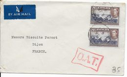 1946 - CEYLAN - RARE MARQUE OAT (ONWARDS AIR TRANSMISSION) Sur LETTRE Par AVION De COLOMBO => FRANCE - Ceylon (...-1947)