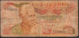 GHANA P27d 200 CEDIS 1989 FINE ,dust But NO P.h. ! - Ghana
