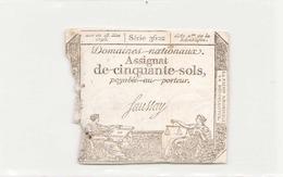 Assignat De Cinquante Sols ( L'an 2 ème De La République ) Série 3602 - Assignats