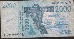 W.A.S. BENIN P216Bn 2000 FRANCS (20)14 FINE NO P.h. - États D'Afrique De L'Ouest
