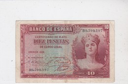 BANCO DE ESPANA, Diez Pesetas, émission 1935 - [ 2] 1931-1936 : République