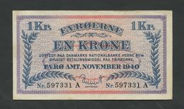 FAEROE ISLANDS - 1 Krone  1940  P9  Very Fine   ( Banknotes ) - Féroé (Iles)
