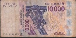 W.A.S. BENIN P218Bl 10.000 FRANCS (20)12 FINE, Folds, NO P.h. - États D'Afrique De L'Ouest