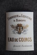EAU De COINGS, Fabrique De Liqueur Et Sirops - Labels