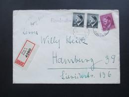 Böhmen Und Mähren 1942 Einschreiben Prag 6 4280 MiF Nr. 89 Unterrandpaar! + Nr. 103 Nach Hamburg. Bedarf! - Briefe U. Dokumente