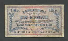 FAEROE ISLANDS - 1 Krone  1940  P9  F-VF   ( Banknotes ) - Féroé (Iles)