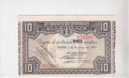 EL BANCO DE ESPANA, BILBAO,diez Pesetas, émission 1 Enero 1937 - 10 Pesetas