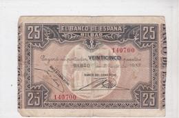 EL BANCO DE ESPANA, BILBAO, Veinticinco Pesetas, émission 1 Enero 1937 - [ 3] 1936-1975 : Régence De Franco