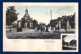 Pays-Bas. Amsterdam. Deux Vues  Muiderpoort ( Gare) Et  Vondelpark. Ca 1900 - Amsterdam