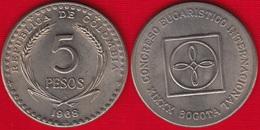 "Colombia 5 Pesos 1968 Km#230 ""International Eucharistic Congress"" UNC - Colombia"