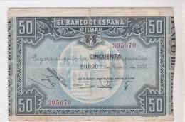 EL BANCO DE ESPANA, BILBAO, Cincuenta Pesetas, émission 1 Enero 1937 - [ 3] 1936-1975 : Regency Of Franco