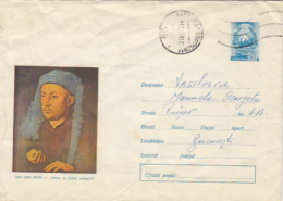 PAINTINGS, JAN VAN EYCK- MAN WITH BLUE CHAPERONE, COVER STATIONERY, ENTIER POSTAL, 1973, ROMANIA - Art