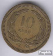 Türkei KM-Nr. : 888 1955 Sehr Schön Messing 1955 10 Kurus Mondsichel Und Stern - Turquie