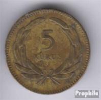 Türkei KM-Nr. : 887 1956 Sehr Schön Messing Sehr Schön 1956 5 Kurus Mondsichel Und Stern - Türkei