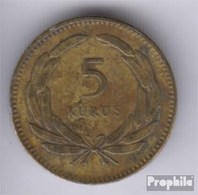 Türkei KM-Nr. : 887 1950 Sehr Schön Messing 1950 5 Kurus Mondsichel Und Stern - Türkei