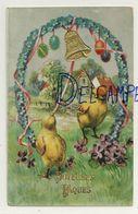 Joyeuses Pâques. Poussins, Cloche, Oeufs, Fer à Cheval, Myosotis, Pensées, ... 1933. Dorée, Relief - Ostern