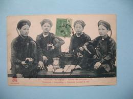 CPA  Viêt-Nam  Tonkin   Haïphong  -Femme Buvant Le Thé  1909 Pour La France - Vietnam