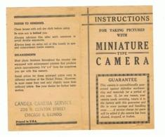 """Feuillet Avec Instructions Pour Appareil Photo ( En Angalis) """"Candex Camera Service """" Chicago USA  (sf39) - Matériel & Accessoires"""