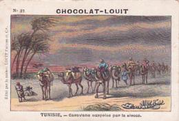 Chromo - Chocolat Louit - Tunisie, Caravane Surprise Par Le Siroco - Louit