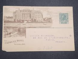 CANADA - Entier Postal Illustré ( Empress Hôtel ) Commerciale Pour La France En 1918 - L 14661 - 1903-1954 Rois