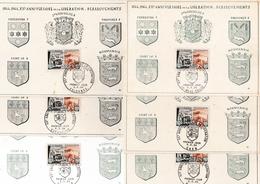 6 Cartes 20ème Anniversaire Débarquement Normandie : Caen Bayeux Cherbourg Valognes St-Lô Ste-Mère-Eglise - Marcophilie (Lettres)