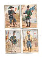 10616 - Lot De 4 CHROMOS BISCUITS PERNOT : Uniformes ITALIE,PORTUGAL,BELGIQUE, JAPON - Pernot