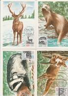 CARTE MAXIMUM - ANIMAUX DE BUFFON -N° 2539 A 2542 - OBLITERES MONTBARD ET PARIS -ANNEE 1988 - Cartas Máxima