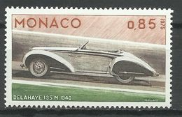 MONACO , 0.85 Fr , Evolution Des Lignes De L'automobile , Delahaye 1940 , 1975 , N° YT 1025 , NEUF ** - Unused Stamps