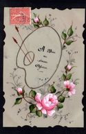 CPA FANTAISIE CELLULOID CELLULOIDE DENTELEE DORURE OR Palette De Peinte Peinte à La Main Fleurs Roses Affection -#668 - Fantaisies